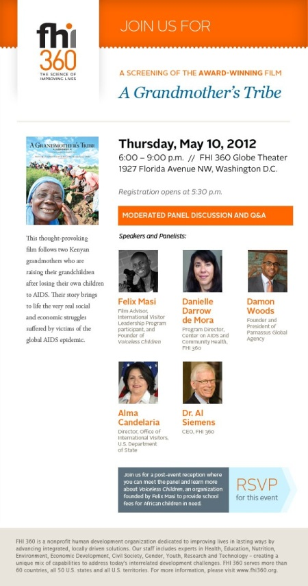 FHI 360 360 Presents A Grandmother's Tribe-Washington D.C May 10 2012